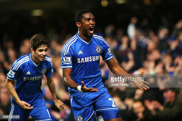 Samuel Eto'o of Chelsea celebrates after scoring his team's second goal during the Barclays Premier League match between Chelsea and Liverpool at...