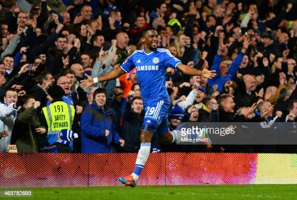 Samuel Eto'o of Chelsea celebrates after scoring his team's third goal and completing his hat trick during the Barclays Premier League match between...