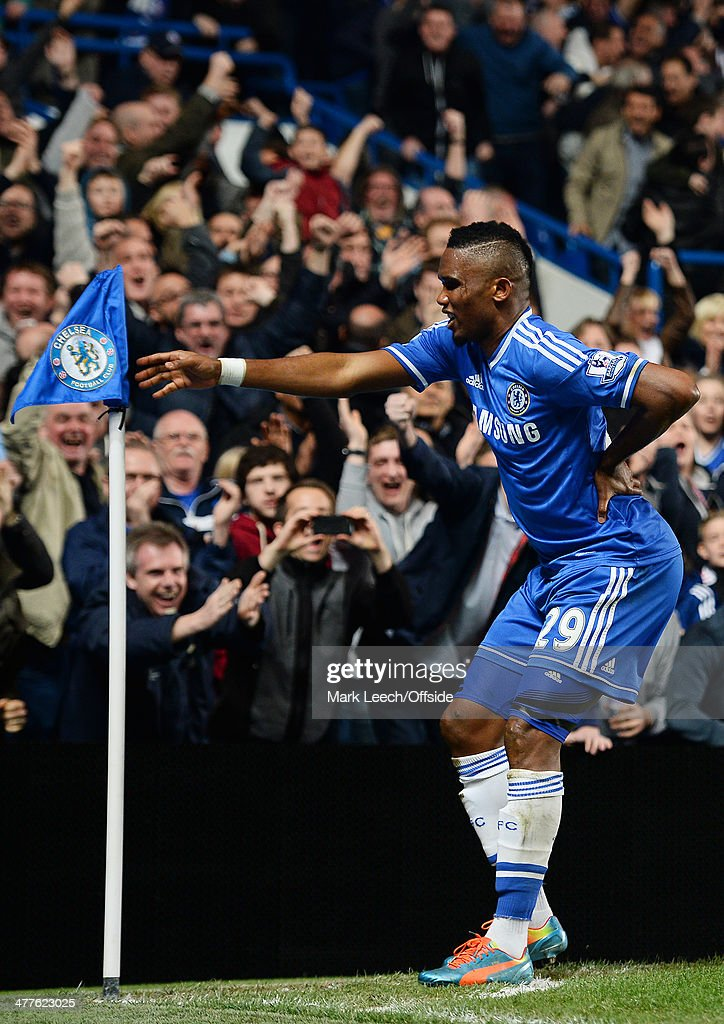 Samuel Eto'o of Chelsea celebrates scoring the opening goal during the Premier League match between Chelsea and Tottenham Hotspur at Stamford Bridge on March 8, 2014 in London, England.