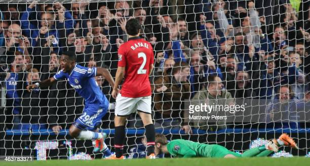 Samuel Eto'o of Chelsea celebrates scoring their second goal during the Barclays Premier League match between Chelsea and Manchester United at...