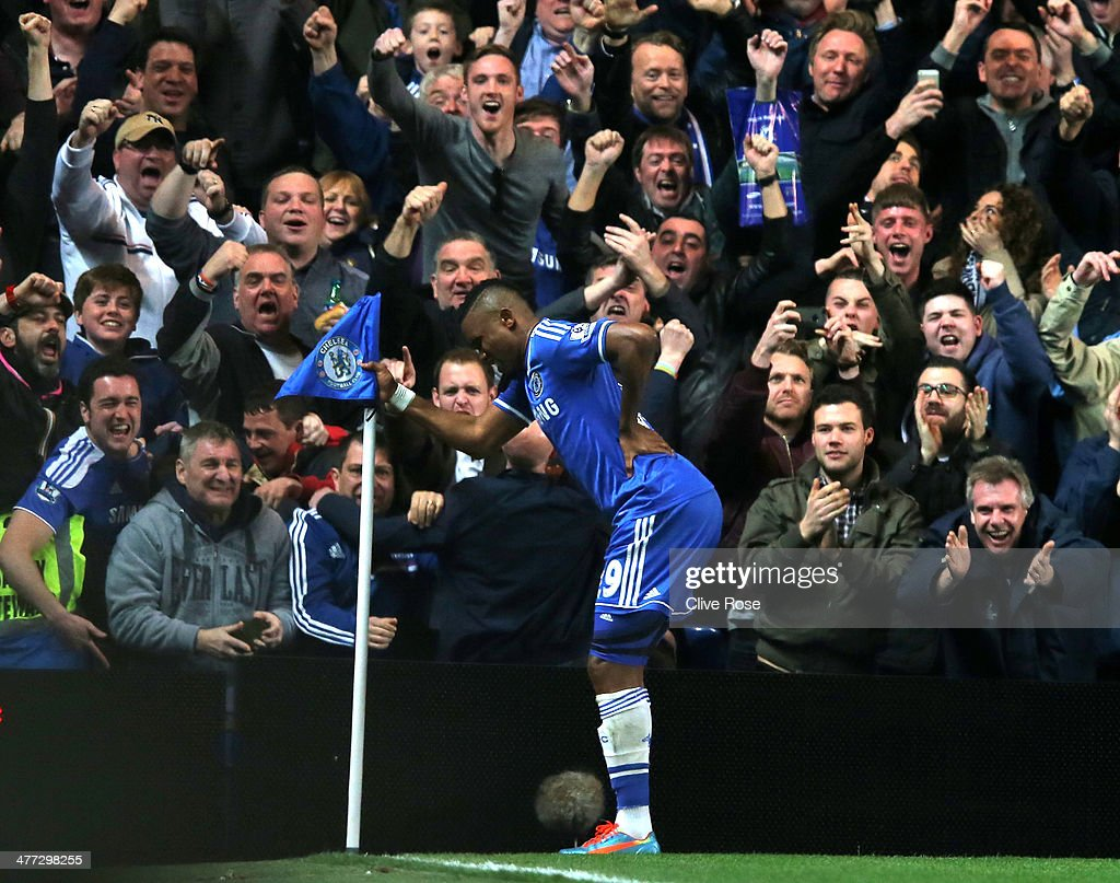Samuel Eto'o of Chelsea does an 'Old Man' celebration during the Barclays Premier League match between Chelsea and Tottenham Hotspur at Stamford Bridge on March 8, 2014 in London, England.