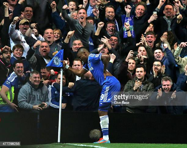 Samuel Eto'o of Chelsea does an 'Old Man' celebration during the Barclays Premier League match between Chelsea and Tottenham Hotspur at Stamford...