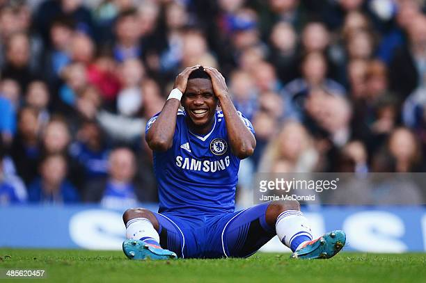 Samuel Eto'o of Chelsea reacts to a missed chance during the Barclays Premier League match between Chelsea and Sunderland at Stamford Bridge on April...