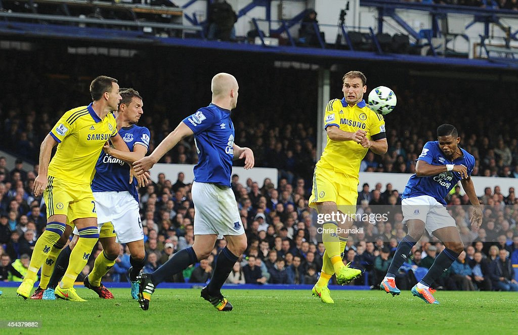 Samuel Eto'o of Everton heads his team's third goal during the Barclays Premier League match between Everton and Chelsea at Goodison Park on August 30, 2014 in Liverpool, England.