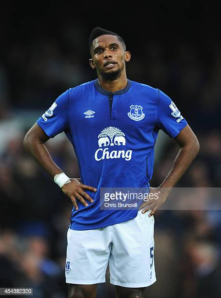 Samuel Eto'o of Everton reacts during the Barclays Premier League match between Everton and Chelsea at Goodison Park on August 30 2014 in Liverpool...