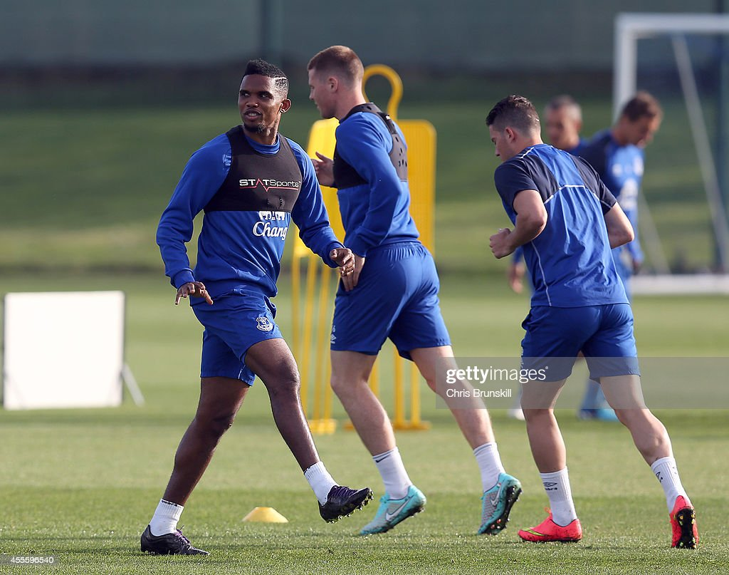 Samuel Eto'o of Everton warms up during a training session at Finch Farm on September 17, 2014 in Liverpool, England.