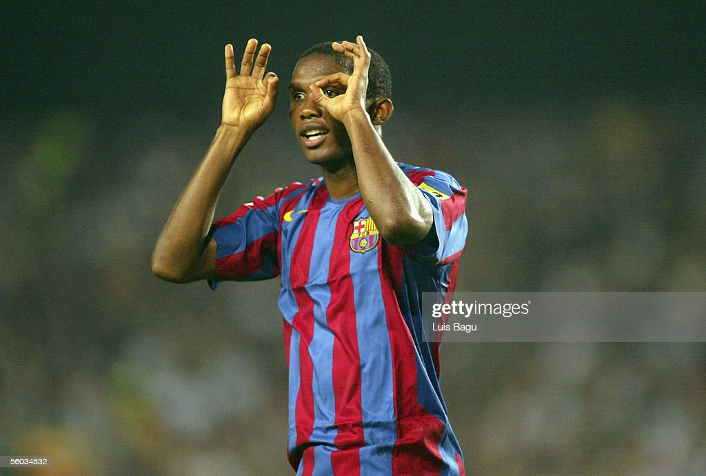 Samuel Etoo of FC Barcelona gestures during the La Liga match between FC Barcelona and Real Sociedad, on October 30, 2005 at the Camp Nou stadium in Barcelona, Spain.