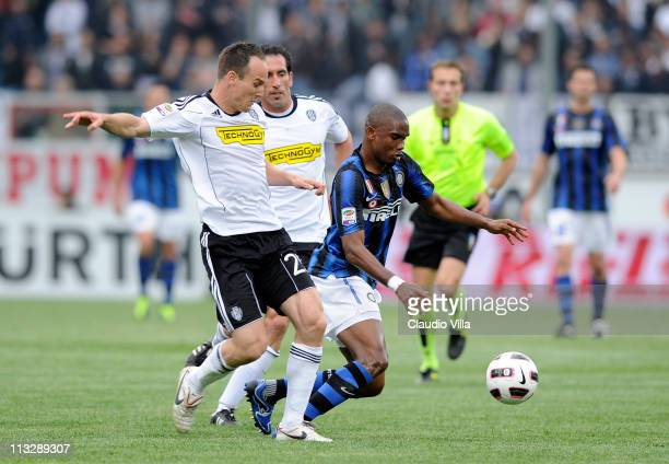 Samuel Eto'o of FC Inter Milan and Steve von Bergen of AC Cesena compete for the ball during the Serie A match between AC Cesena and FC...