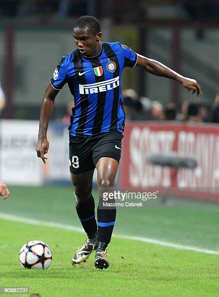 Samuel Eto'o of FC Inter Milan in action during the UEFA Champions League Group F match between FC Inter Milan and FC Barcelona at the Meazza Stadium...