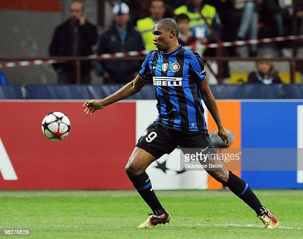 Samuel Eto'o of Inter in action during the UEFA Champions League Quarter Finals First Leg match between FC Internazionale Milano v CSKA Moscow at...