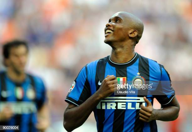 Samuel Eto'o of Inter Milan celebrates after scoring the opening goal from a penalty during the Serie A match between Inter Milan and Bari at...