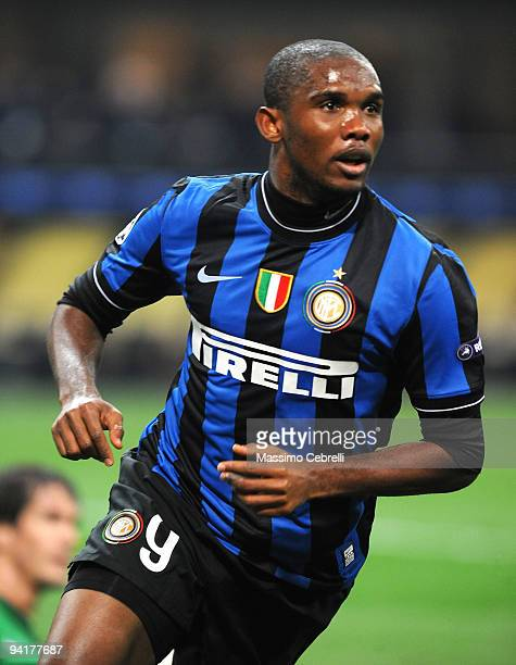 Samuel Eto'o of Inter Milan celebrates after scoring the opening goal during the UEFA Champions League Group F match between FC Inter Milan and FC...