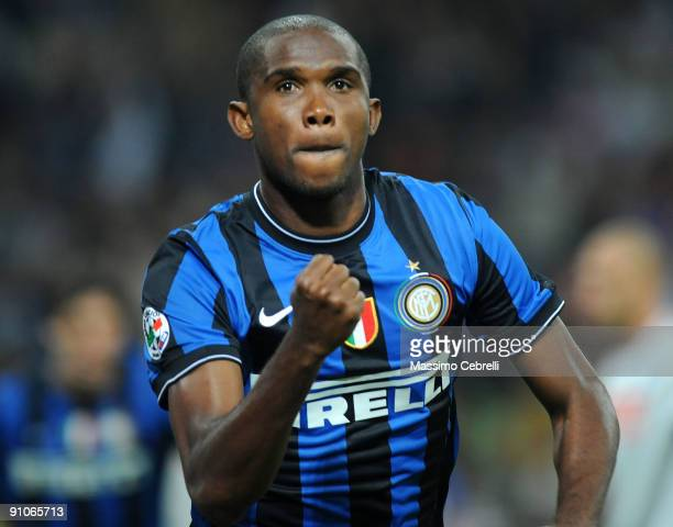 Samuel Eto'o of Inter Milan celebrates scoring the first goal during the Serie A match between FC Inter Milan and SSC Napoli at Stadio Giuseppe...