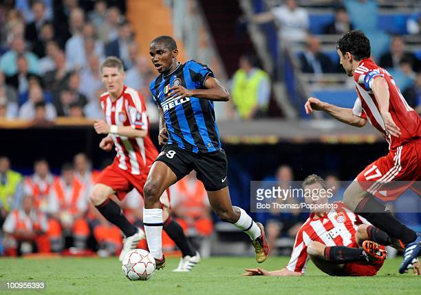 Samuel Eto'o of Inter Milan during the UEFA Champions League Final match between Bayern Munich and Inter Milan at the Estadio Santiago Bernabeu on...