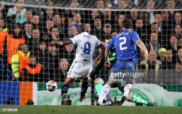 Samuel Eto'o of Inter Milan scores the opening goal during the UEFA Champions League Round of 16 second leg match between Chelsea and Inter Milan at...