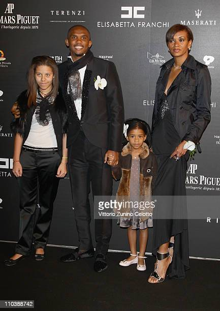 Samuel Eto'o wife Georgette and their daughters attend the Fundaction Privada Samuel Eto'o Charity Event Red Carpet on March 17 2011 in Milan Italy