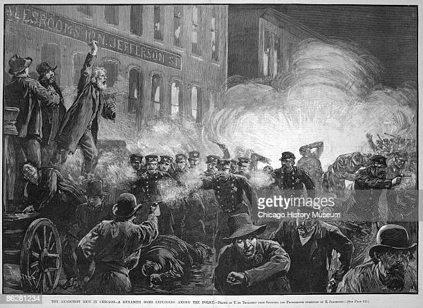 Samuel Fielden a radical socialist from England stands atop the speaker's wagon as a dynamite bomb explodes among the police triggering the tragic...