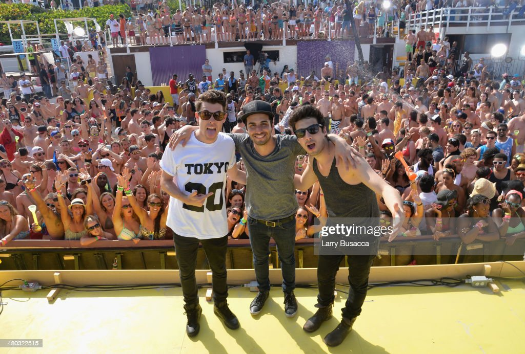 Samuel Frisch, Jean Paul Makhlouf, and Alex Makhlouf of Cash Cash attend mtvU Spring Break 2014 at the Grand Oasis Hotel on March 21, 2014 in Cancun, Mexico.'mtvU Spring Break' starts airing March 31st on mtvU.