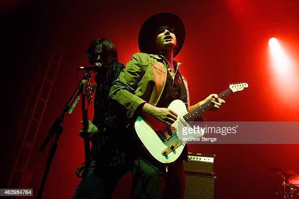 Samuel Fryer and Alexander Jesson of Palma Violets performs on stage for the NME Awards Tour at O2 Academy Leeds on February 20 2015 in Leeds United...