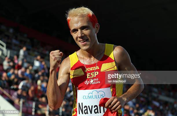 Samuel Garcia of Spain celebrates victory in the Men's 1000m Final during day one of The European Athletics U23 Championships 2013 on July 11 2013 in...