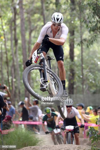 Samuel Gaze of New Zealand competes during the Men's Crosscountry on day eight of the Gold Coast 2018 Commonwealth Games at Nerang Mountain Bike...