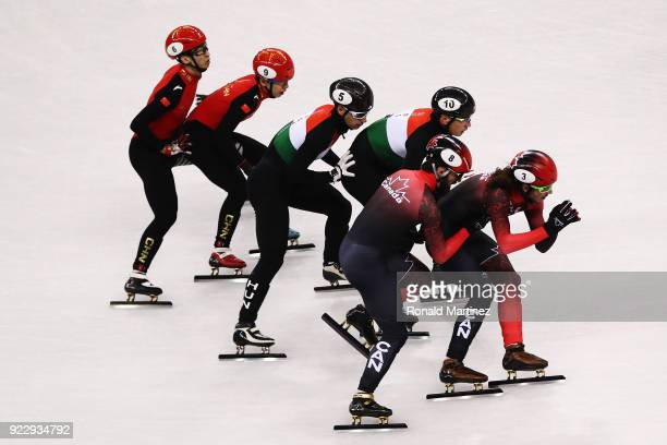 Samuel Girard and Charles Hamelin of Canada Shaolin Sandor Liu and Shaoang Liu of Hungary and Tianyu Han and Dajing Wu of China compete during the...