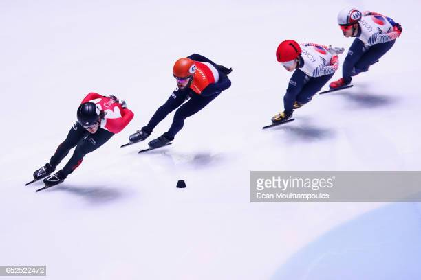 Samuel Girard of Canada #62 Sjinkie Knegt of the Netherlands #1 Seo Yi Ra of South Korea and Sin Da Woon of South Korea compete on day two in the...