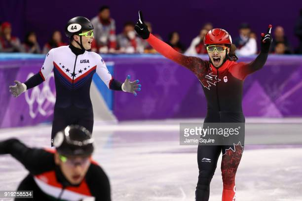 Samuel Girard of Canada and JohnHenry Krueger of the United States celebrate after coming in first and second place respectively during the Short...