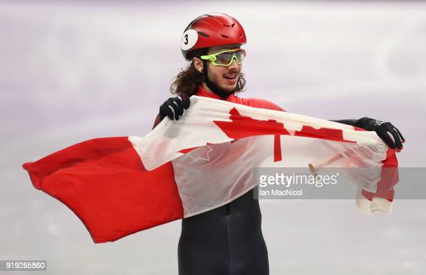 Samuel Girard of Canada celebrates after winning the Men's 1000m Final during the Short Track Speed Skating on day eight of the PyeongChang 2018...
