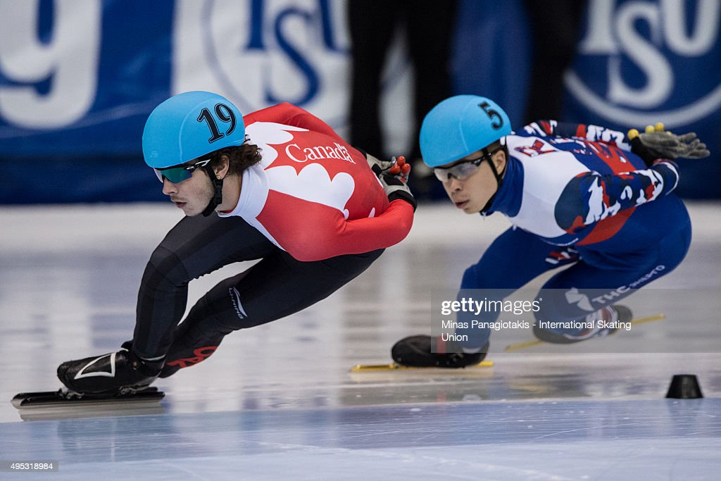 Samuel Girard of Canada competes against Semion Elistratov of Russia on Day 2 of the ISU World Cup Short Track Speed Skating competition at Maurice-Richard Arena on November 1, 2015 in Montreal, Quebec, Canada.