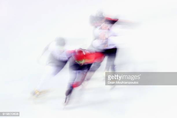 Samuel Girard of Canada competes during the Short Track Speed Skating Men's 1000m final on day eight of the PyeongChang 2018 Winter Olympic Games at...