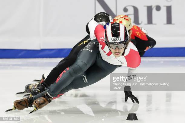 Samuel Girard of Canada competes in the Men 1000m Final A during the Audi ISU World Cup Short Track Speed Skating at Mokdong Ice Rink on November 19...