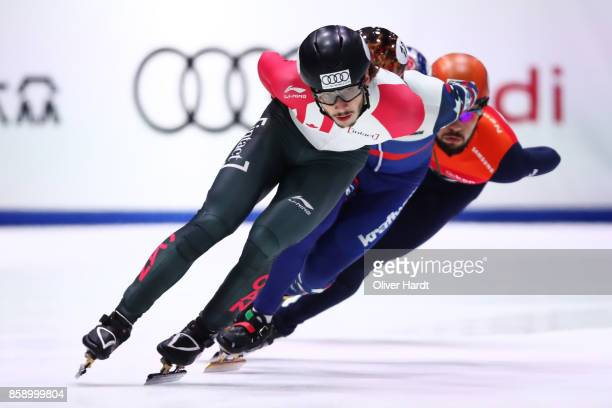 Samuel Girard of Canada competes in the Mens 1000m final race during the Audi ISU World Cup Short Track Speed Skating at Optisport Sportboulevard on...