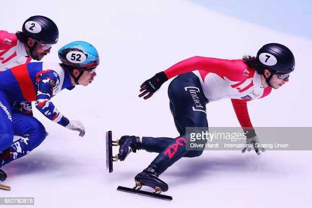 Samuel Girard of Canada competes in the Men«s 1000m quarter finals race during day two of ISU World Short Track Championships at Rotterdam Ahoy Arena...