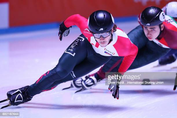 Samuel Girard of Canada competes in the Men's 1500m semifinals race during day one of ISU World Short Track Championships at Rotterdam Ahoy Arena on...