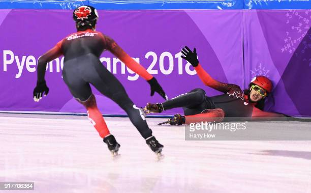 Samuel Girard of Canada crashes during the Men's 5000m Relay Short Track Speed Skating heat 1 on day four of the PyeongChang 2018 Winter Olympic...