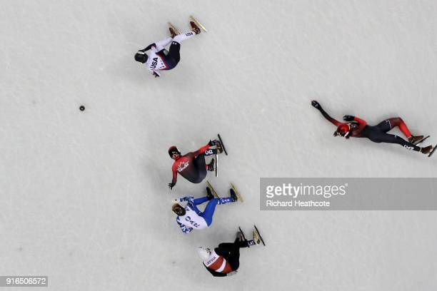 Samuel Girard of Canada falls during the Men's 1500m Short Track Speed Skating semifinals on day one of the PyeongChang 2018 Winter Olympic Games at...