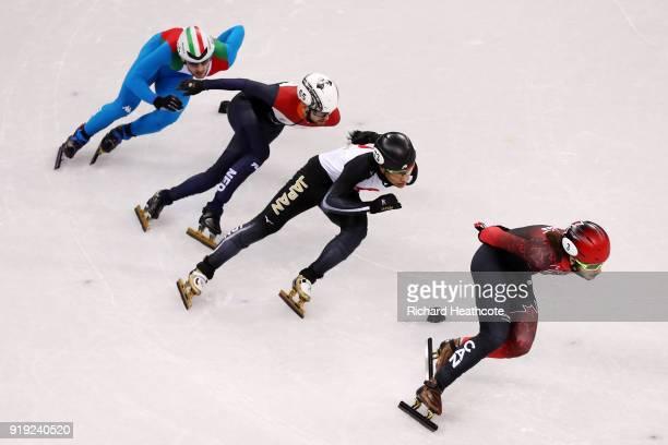 Samuel Girard of Canada Kazuki Yoshinaga of Japan Yuri Confortola of Italy Itzhak De Laat of the Netherlands compete during the Short Track Speed...