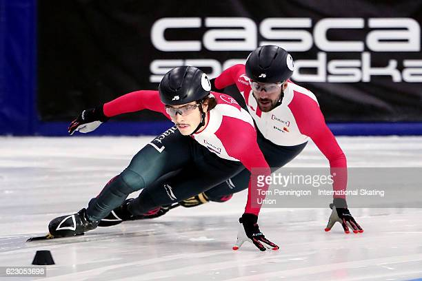 Samuel Girard of Canada leads Charles Hamelin of Canada in the Men's 500 meter Final during the ISU World Cup Short Track Speed Skating event on...