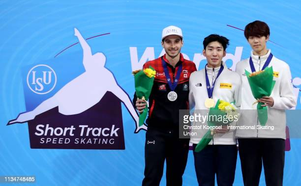 Samuel Girard of Canada , Lim Hyo Jun of Republic of Korea and Lee June Seo of Republic of Korea pose during the medal ceremony of the during the men...