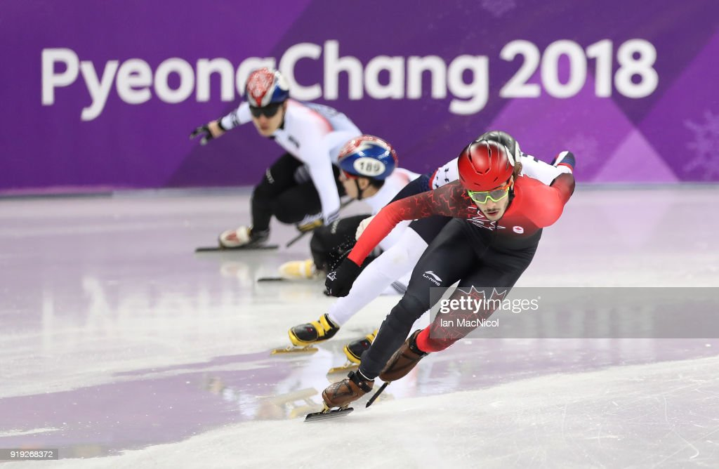 Samuel Girard of Canada on his way to winning the Men's 1000m Final during the Short Track Speed Skating on day eight of the PyeongChang 2018 Winter Olympic Games at Gangneung Ice Arena on February 17, 2018 in Gangneung, South Korea.