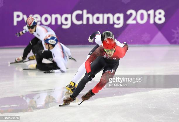 Samuel Girard of Canada on his way to winning the Men's 1000m Final during the Short Track Speed Skating on day eight of the PyeongChang 2018 Winter...
