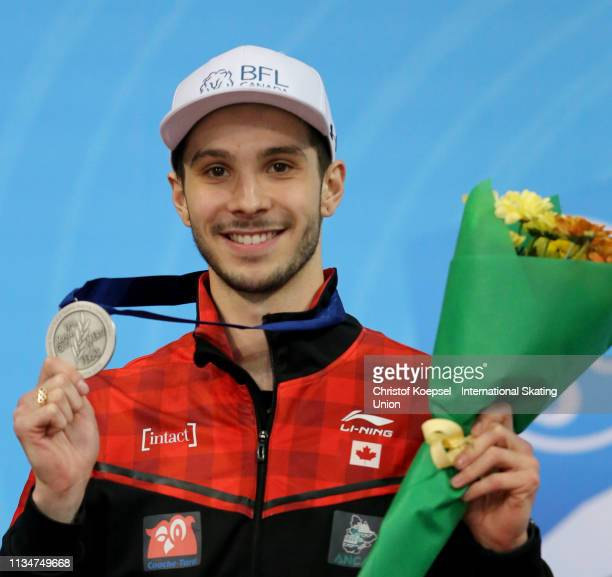 Samuel Girard of Canada poses during the medal ceremony of the men 1500 meter final A of the ISU World Short Track Speed Skating Championships Day 2...