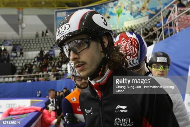 Samuel Girard of Canada prepares for warm up during the Audi ISU World Cup Short Track Speed Skating at Mokdong Ice Rink on November 19 2017 in Seoul...
