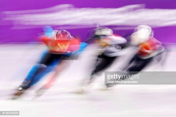 Samuel Girard of Canada Yuri Confortola of Italy Itzhak De Laat of the Netherlands and Kazuki Yoshinaga of Japan compete during the Short Track Speed...