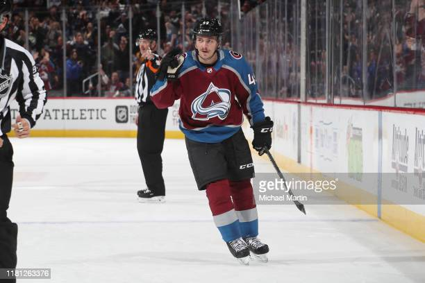 Samuel Girard of the Colorado Avalanche celebrates after scoring a goal against the Columbus Blue Jackets at Pepsi Center on November 09, 2019 in...