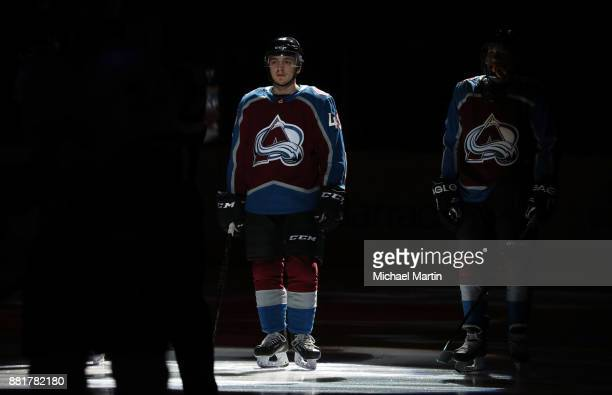 Samuel Girard of the Colorado Avalanche is introduced prior to the game against the Calgary Flames at the Pepsi Center on November 25 2017 in Denver...