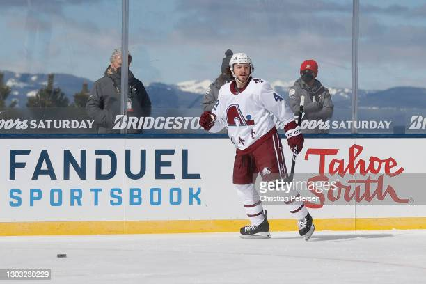 Samuel Girard of the Colorado Avalanche reacts after scoring a first period goal against the Vegas Golden Knights during the 'NHL Outdoors At Lake...