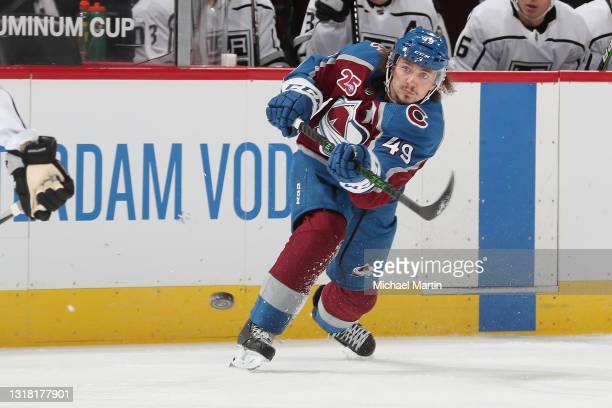 Samuel Girard of the Colorado Avalanche shoots against the Los Angeles Kings at Ball Arena on May 13, 2021 in Denver, Colorado.