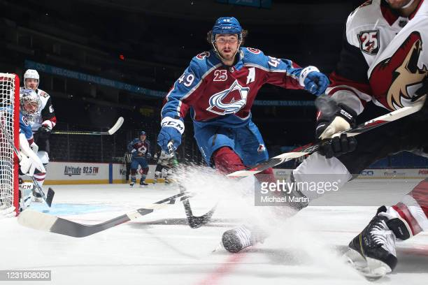 Samuel Girard of the Colorado Avalanche skates against the Arizona Coyotes at Ball Arena on March 08, 2021 in Denver, Colorado. The Coyotes defeated...